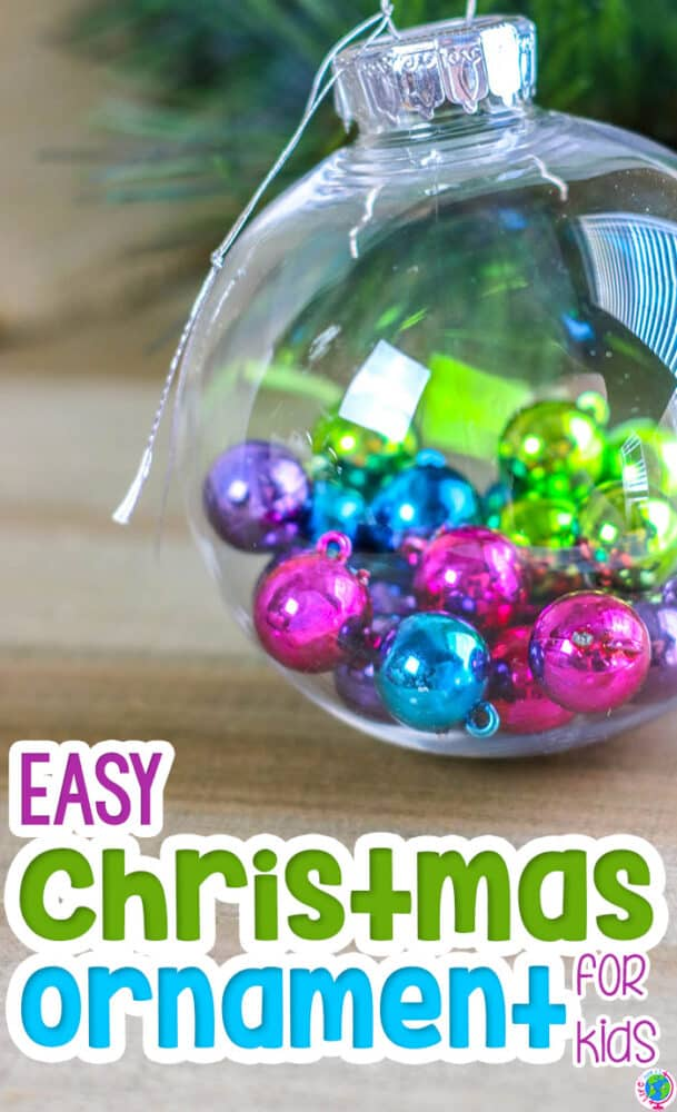 Create a cheap homemade Christmas ornament with kids for your Christmas theme.