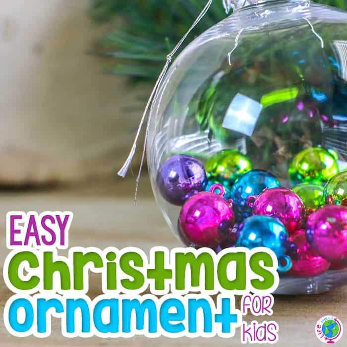 Place miniature Christmas ornaments into a clear Christmas ornament to create a quick and easy Christmas ornament for kids