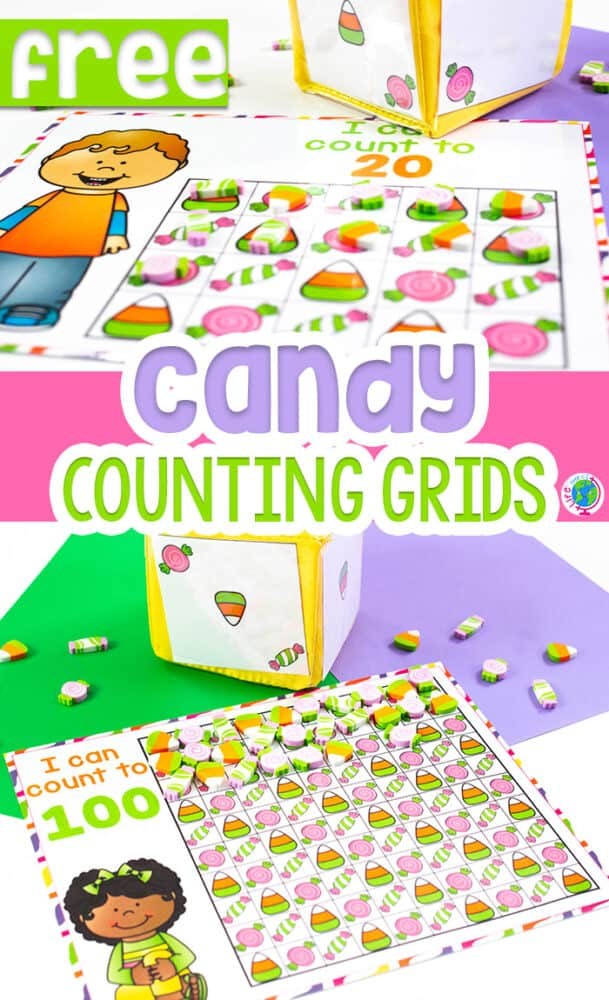 Free printable Candy counting grids for preschool, pre-k, and kindergarten.