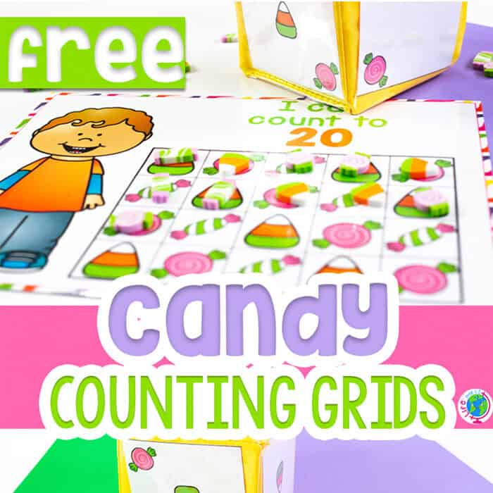 Candy counting activities for preschool counting grids mini erasers