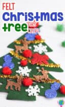 This DIY felt Christmas tree craft for kids is perfect for crafting during your Christmas theme! Easy Christmas tree craft for kids to decorate with felt ornaments, sticker ornaments, pom poms and pipe cleaners. #feltchristmastree #christmascraftsforkids #kidschristmas #preschool #lifeovercs #christmas
