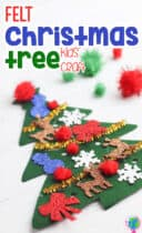 Easy DIY Felt Christmas tree craft for kids to decorate with felt ornaments, sticker ornaments, pom poms and pipe cleaners.