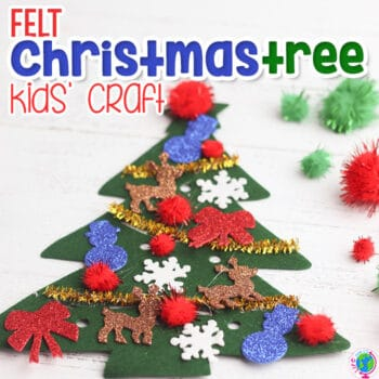 mini felt Christmas trees for preschoolers to decorate with pom poms, pipe cleaners and Christmas stickers