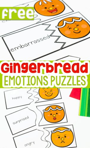 These free printable Gingerbread Emotions Puzzles are perfect for working on emotions with your preschoolers during your Christmas theme.