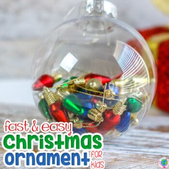 This simple fine motor Christmas lights homemade Christmas ornament for kids is fast and easy for your preschool Christmas theme