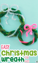 Easy Christmas Wreath For Kids Pinterest image.