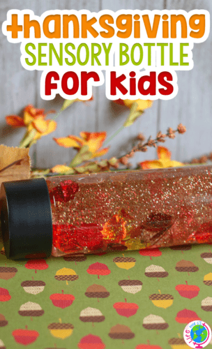 Fall sensory bottle for kids. Perfect sensory activity for Thanksgiving.