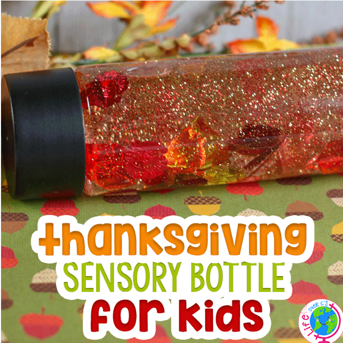 This fall, bring the changing colors of the trees inside with fall leaves glitter sensory bottle for kids.