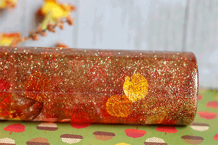 Easy Thanksgiving and fall leaves glitter sensory bottle for kids.