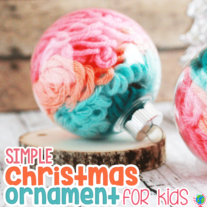 Create a simple Christmas ornament craft with kids using a clear Christmas ornament and some yarn scraps to create a beautiful DIY Christmas ornament for kids
