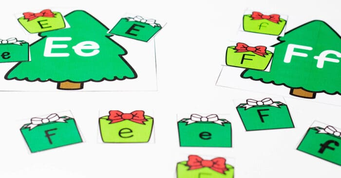 Christmas theme alphabet sorting activity for preschoolers. Match the uppercase and lowercase letters to the correct Christmas tree.