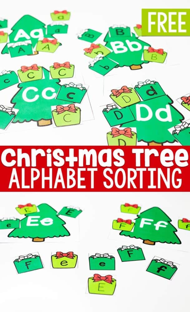 A simple, engaging hands-on Christmas alphabet sorting activity for preschoolers or mid-year review with kindergarteners.