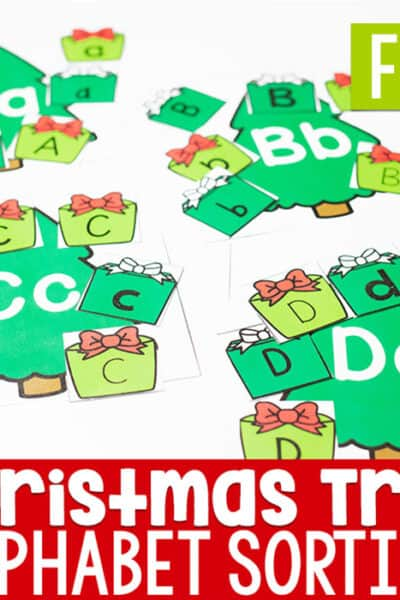 Simple Christmas theme alphabet activity for preschoolers. Sort the uppercase and lowercase letters to match the Christmas tree