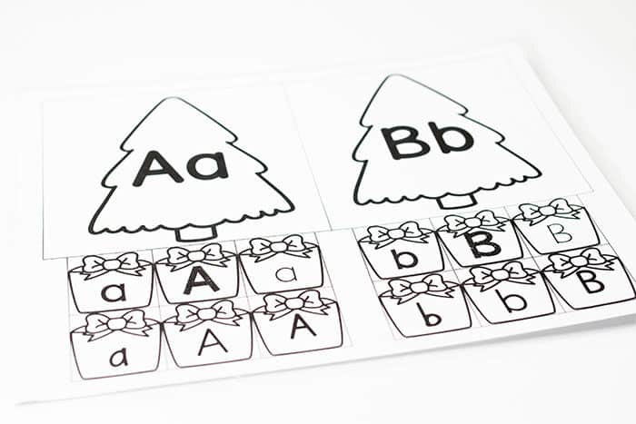 Alphabet uppercase and lowercase sorting activity for Preschool Christmas themes