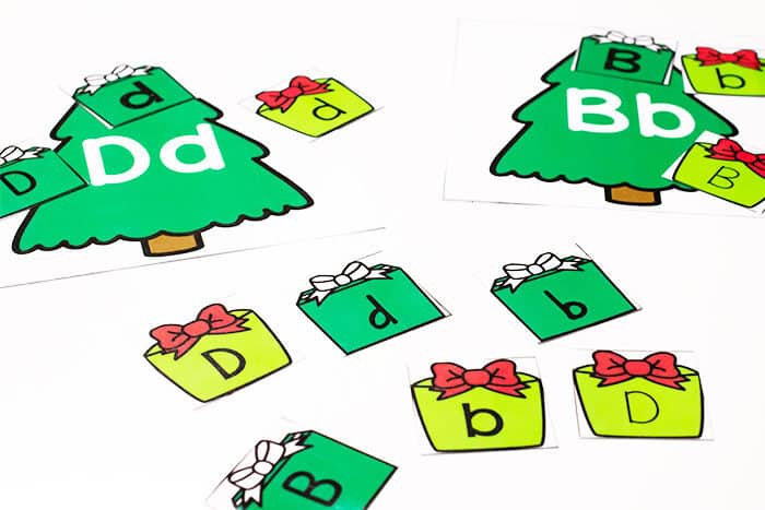 Sort uppercase and lowercase letters onto the matching Christmas tree alphabet in this free printable Christmas themed alphabet sorting activity for preschool.