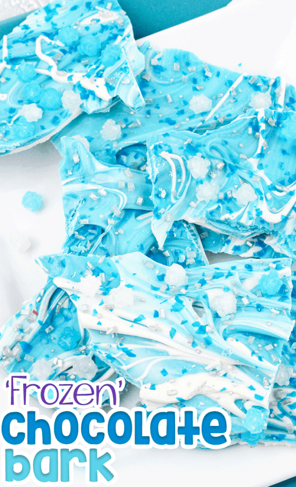 Frozen themed chocolate bark for kids! The perfect easy snack for kids who love Disney's Frozen or Frozen 2 movies! An easy recipe for kids