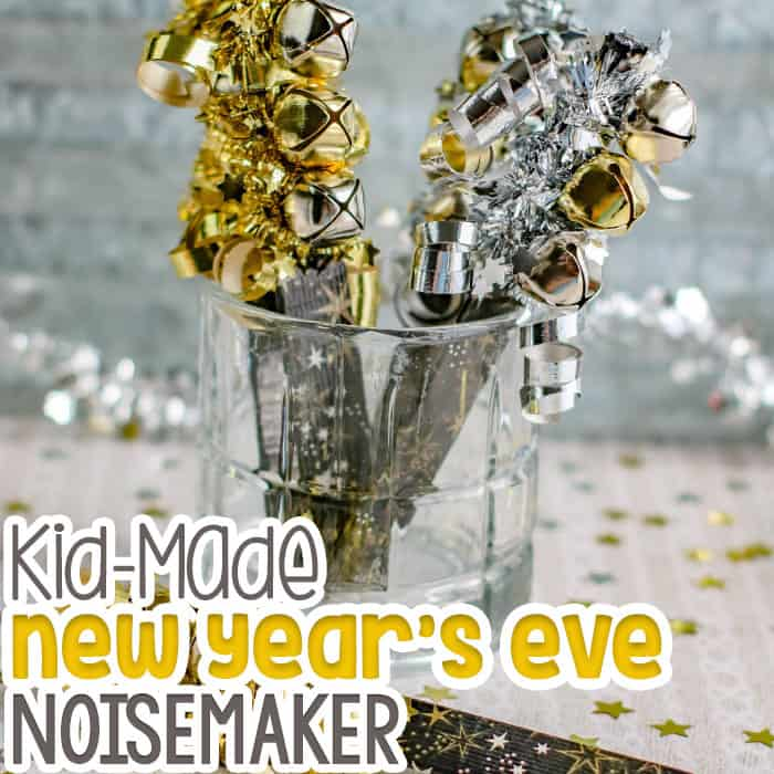 Kid Made DIY New Year's Eve Noisemaker craft with popsicle sticks.