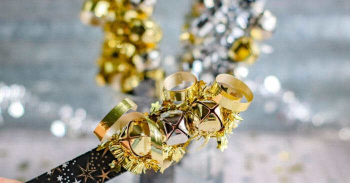 Use bells to make a homemade New Years eve craft for kids