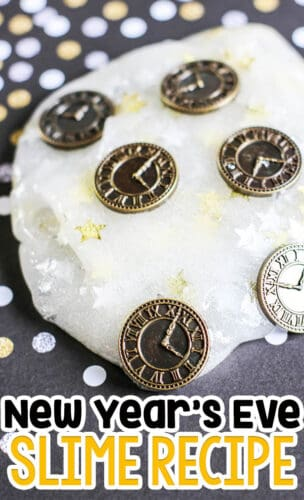 basic slime recipe with glitter starts and clocks for a New Years Slime recipe