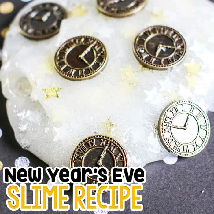 Ring in the New Year with this basic slime recipe all dressed up for a New Year's Eve Party.