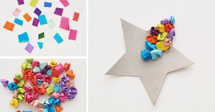 Use crumpled paper to create a simple fine motor paper craft for kids for New Year's Eve party