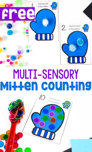 Free printable mitten counting cards for your winter preschool math centers.
