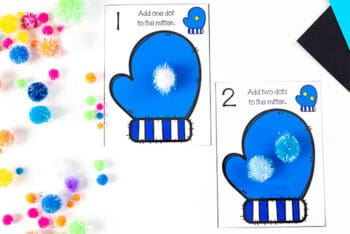 Use pom poms to count dots on these free printable mitten counting math centers for preschool