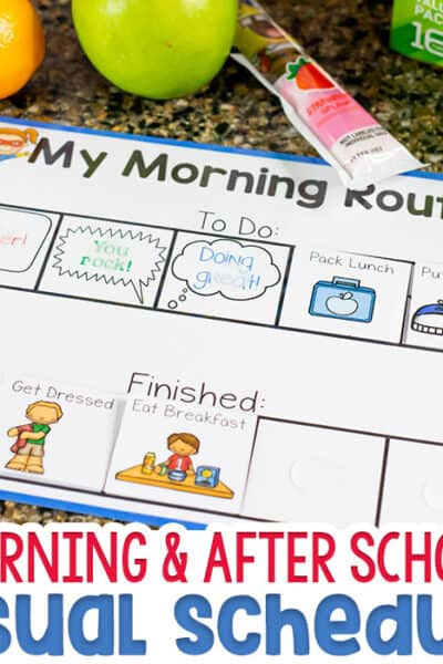 Free printable visual schedule for kids for morning routine with kids and after school routine for kids