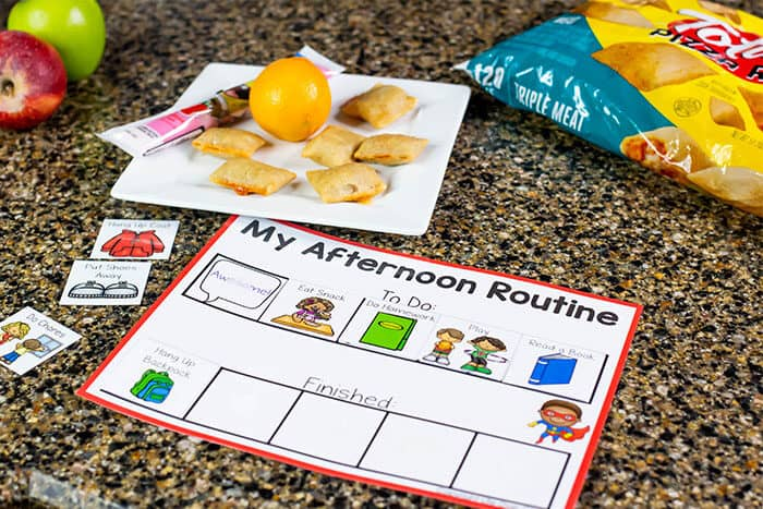 Free printable visual schedule for mornings and after school. Visual schedule to help kids with daily transitions and tasks