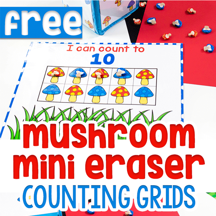 Mushroom Mini Eraser Counting Grids Printable.
