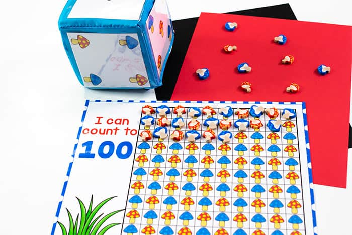 I can count to 100 counting card with a mini mushroom erasers.