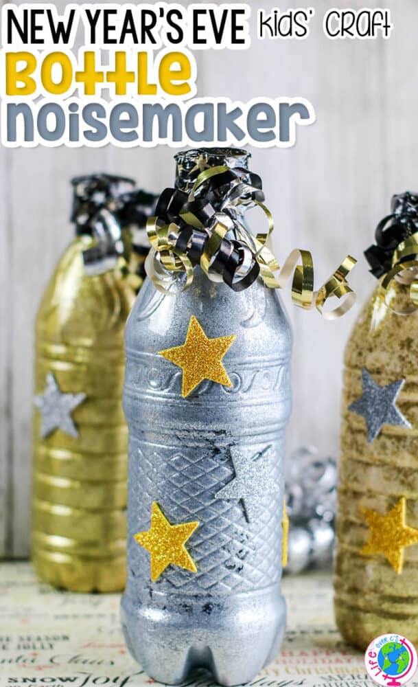 These New Years Noisemaker crafts for kids are a fun way to celebrate the New Year!