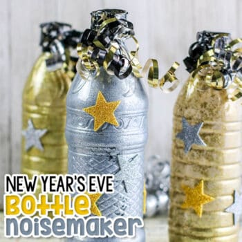 Upcycle your plastic bottles to create a Bottle New Years Eve Noisemaker activity for kids.