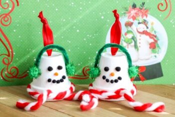 Finished Terracotta Pot Snowman Ornaments with a snow globe Christmas background.