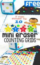 Free printable star mini eraser counting grid games for preschool math centers