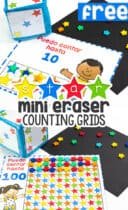 Free printable star counting grids for numbers to 10, 20 and 100 for preschool math centers using mini erasers