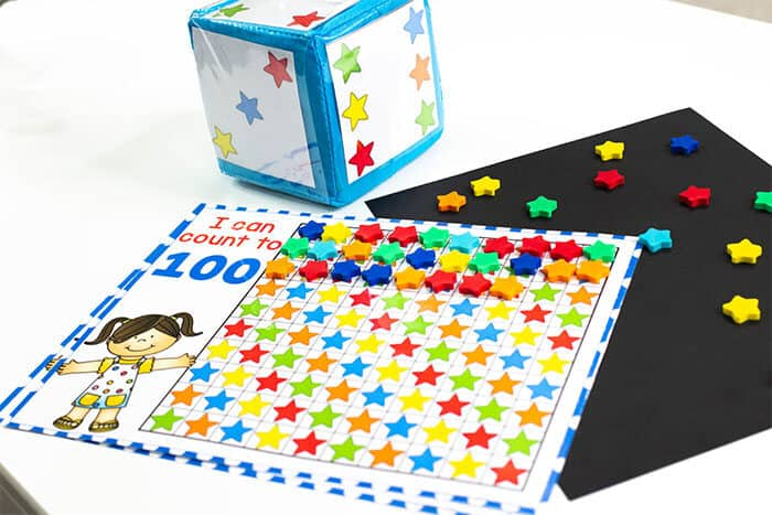 Free printable star mini eraser counting grid games for preschool math centers.