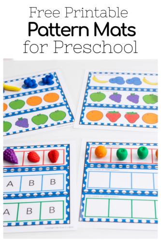 Free printable fruit pattern activities for preschool and kindergarten