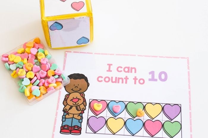 Valentine's Day Counting Games: 3 Valentine's Day Counting Grid games for counting to 10, 20 and counting to 100