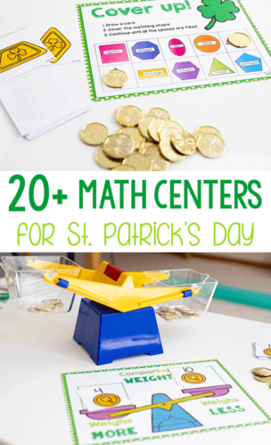 20+ preschool and kindergarten math centers for St. Patrick's Day. Rainbow themed activities, four-leaf clovers, leprechauns and more! Grab these March math activities for your kids and work on counting, measurement, weight, size order, graphing, 2D shapes.