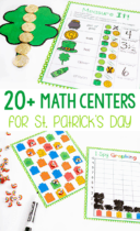 Work on measurement, graphing, color recognition, counting and so many more math skills with these super FUN 20+ math activities for St. Patrick's Day.