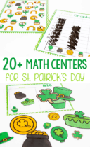 Math is so much fun with these 20+ math centers for March. Perfect for St. Patrick's Day or a Rainbow theme, kindergarteners will learn about measuring length, weight, sorting, size order, 2D shapes and more with these independent, partner or small group activities.