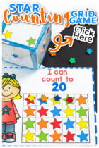 Use star mini erasers with these printable number games for preschool. Count to 10, 20 and 100 in English and Spanish