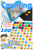 Interactive number grid counting games using star mini erasers for counting to 10, 20 and 100 in English and Spanish