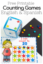 Star mini eraser grid games for counting to 10, 20 and 100 in English and Spanish