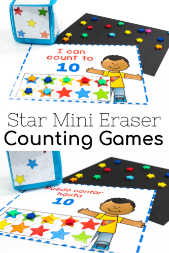Star mini eraser grid games for counting to 10, 20 and 100