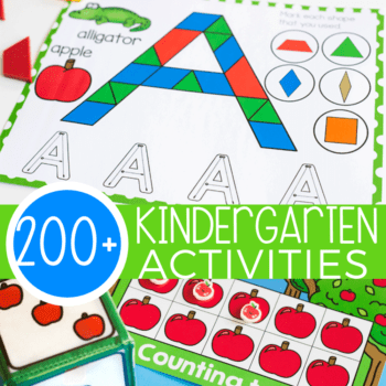 200+ amazing, hands-on printables and activities for kindergarten! Alphabet activities, math games, counting games, kindergarten dice games for math centers and so.much.more!