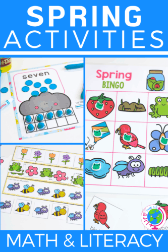 Spring preschool math and literacy activities. Counting, patterns, matching, sorting, alphabet activities and more!