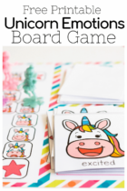 excited unicorn card for unicorn theme social emotional board game