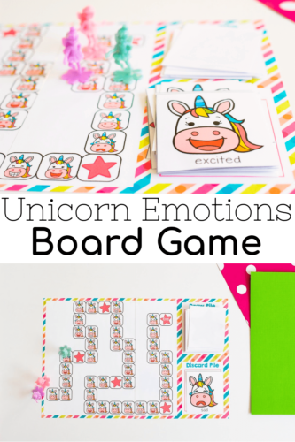 unicorn emotions board game for preschoolers social emotional activity